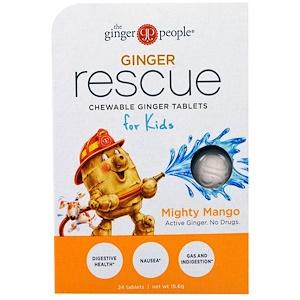 Зе Джинджэр Пипл, Ginger Rescue, Chewable Ginger Tablets for Kids, Mighty Mango, 24 Tablets (15.6 g) отзывы