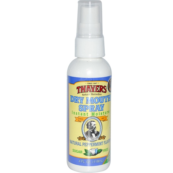 Thayers, Dry Mouth Spray, Instant Moisture, Sugar Free, Natural Peppermint Flavor, 4 fl oz (118 ml) (Discontinued Item)