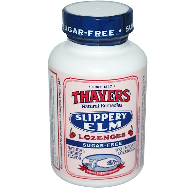 Thayers, Slippery Elm Lozenges, Sugar-Free, Natural Cherry Flavor, 100 Throat Lozenges (Discontinued Item)