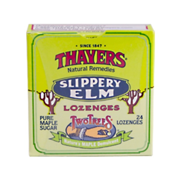 Thayers, Slippery Elm Lozenges, Pure Maple Sugar, 24 Lozenges (Discontinued Item)
