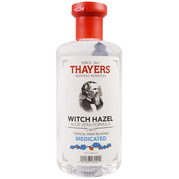 Thayers, Witch Hazel, Aloe Vera Formula, Medicated, Topical Pain Reliever, 12 fl oz (355 ml)