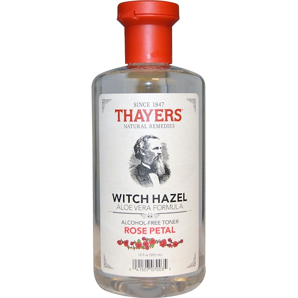 Thayers, 위치 하젤 알로에 베라 포뮬라, 무알코올 토너, 장미 꽃잎, 12 액량 온스 (355 ml)