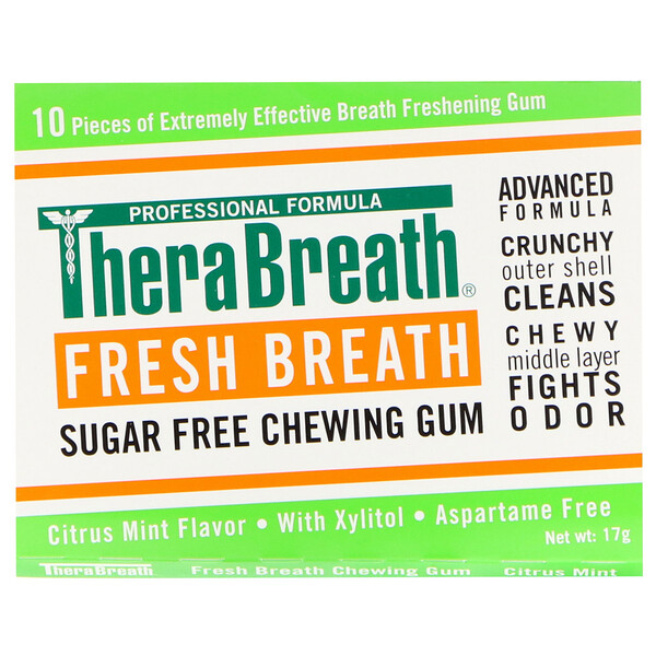 TheraBreath, Fresh Breath, Sugar Free Chewing Gum, Citrus Mint Flavor, 6 Pack, 10 Pieces Each