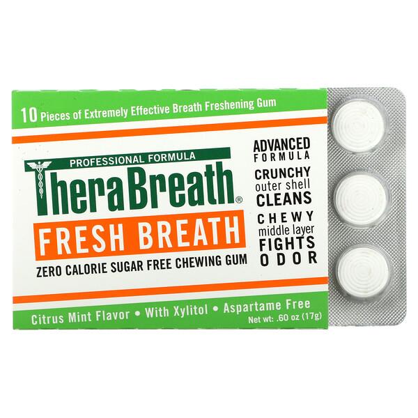 TheraBreath, Fresh Breath Chewing Gum, Sugar Free, Citrus Mint, 6 Pack, 10 Pieces Each