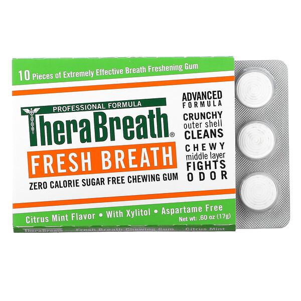 Fresh Breath Chewing Gum, Sugar Free, Citrus Mint, 6 Pack, 10 Pieces Each