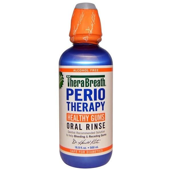 TheraBreath, PerioTherapy, Enjuague bucal para encías sensibles, Sin Alcohol, 16.9 fl oz (500 ml) (Discontinued Item)