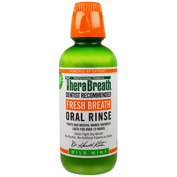 TheraBreath, 新鮮な息, 含嗽液, マイルドミント, 16液量オンス(473 ml)