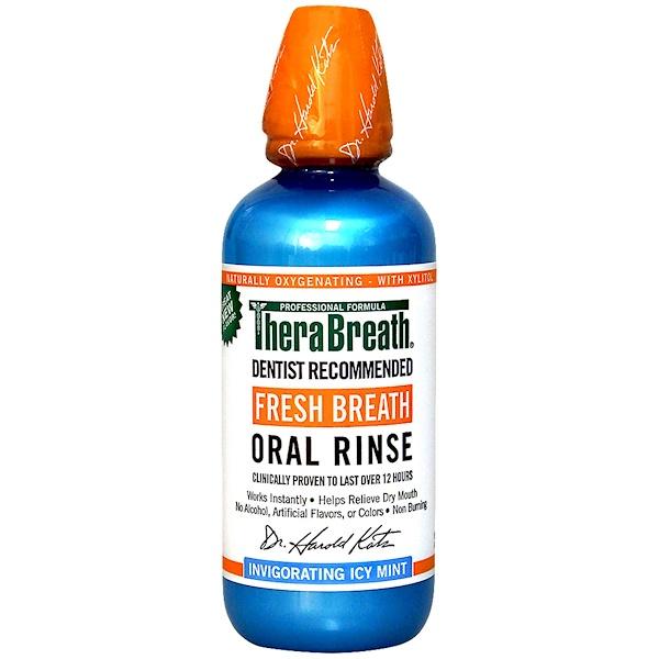 TheraBreath, Fresh Breath Oral Rinse, Invigorating Icy Mint Flavor, 16 fl oz (473 ml)