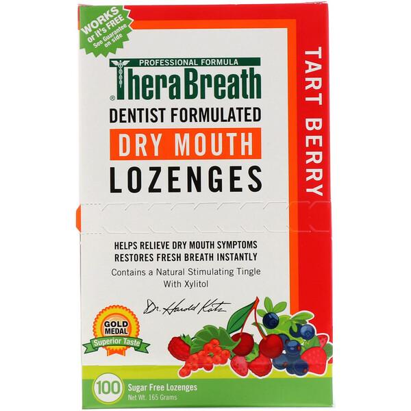 TheraBreath, ドライマウスロゼンジ、無糖、タルトベリー、個別包装ロゼンジ100個、