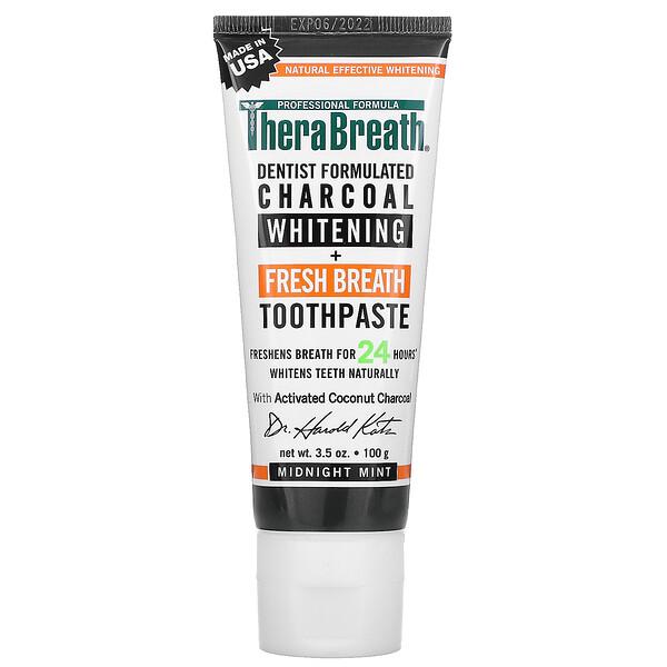 TheraBreath, Charcoal Whitening + Fresh Breath Toothpaste 치약, 미드나이트 민트, 100g(3.5oz)