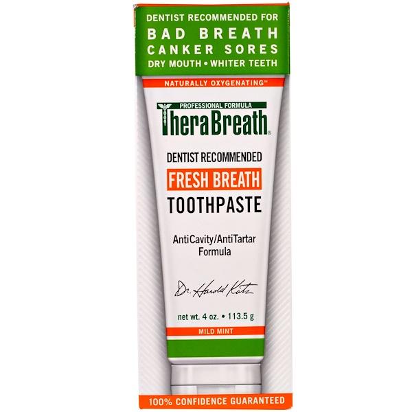 TheraBreath, معجون الأسنان لنفس منعش, نكهة النعناع الملطفة, 4 أونصة(113.5 غ)
