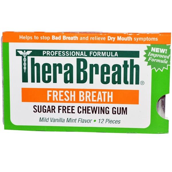 TheraBreath, نفس منعش، علكة خالية من السكر، نكهة النعناع والفانيلا المعتدلة، 12 قطعة