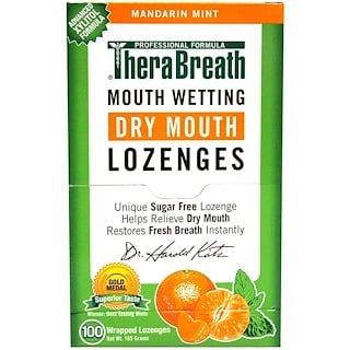 TheraBreath, Mouth Wetting Fresh Breath Lozenges, Mandarin Mint, 100 Wrapped Lozenges, 165 g