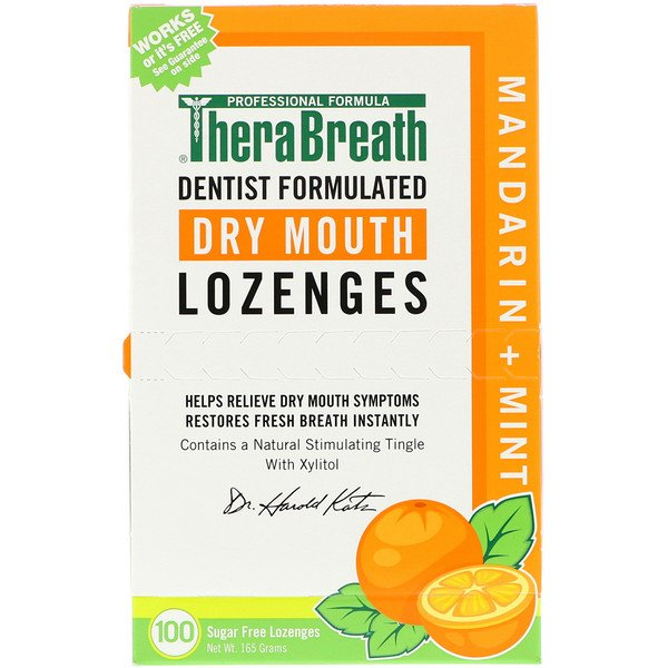 TheraBreath, Dry Mouth Lozenges, Mandarin Mint, 100 Wrapped Lozenges, 165 g
