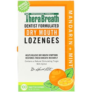 ТераБрет, Dry Mouth Lozenges, Mandarin Mint, 100 Wrapped Lozenges, 165 g отзывы покупателей
