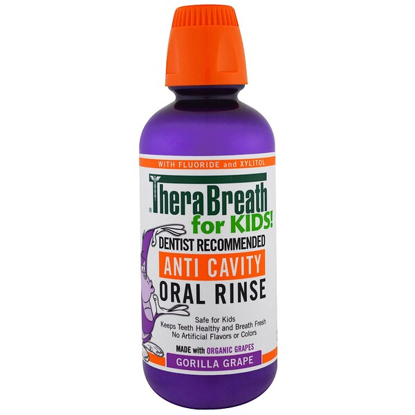 TheraBreath, Anti Cavity Oral Rinse for Kids, Gorilla Grape, 16 fl oz (473 ml)