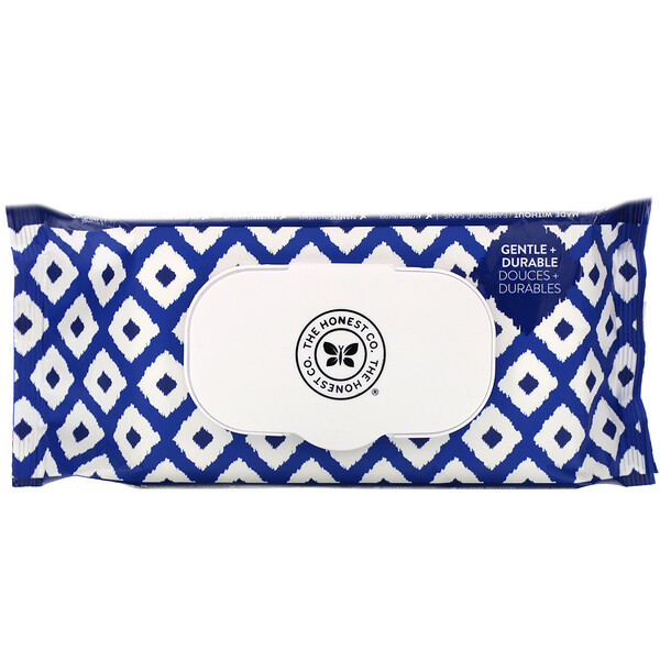 The Honest Company, Plant-Based Wipes, Blue Ikat, 72 Wipes