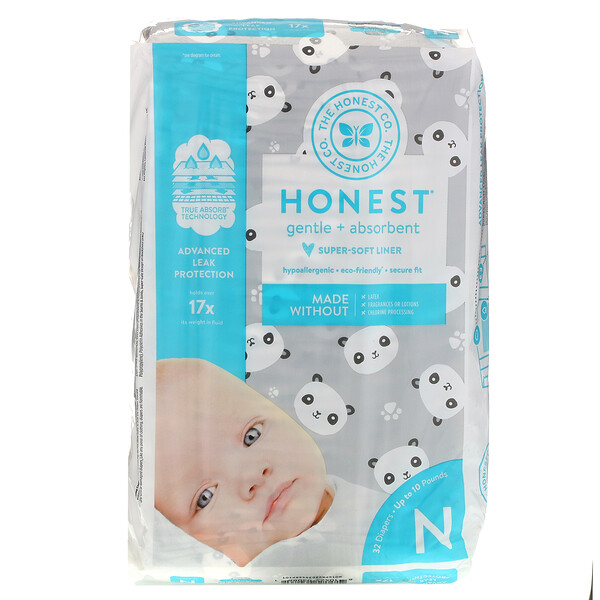 Honest Diapers, Super-Soft Liner, Newborn, Up to 10 Pounds, Pandas, 32 Diapers
