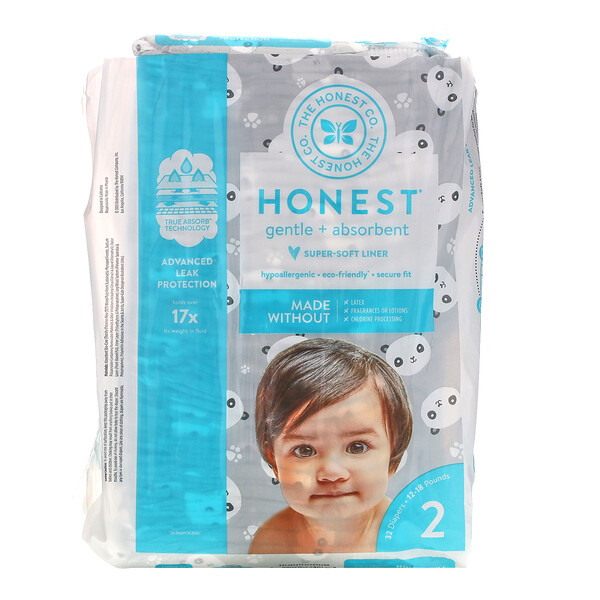 Honest Diapers, Size 2, 12 - 18 Pounds, Pandas, 32 Diapers