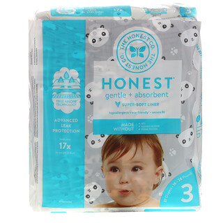 The Honest Company, Honest Diapers, Size 3, 16-28 Pounds, Pandas, 27 Diapers