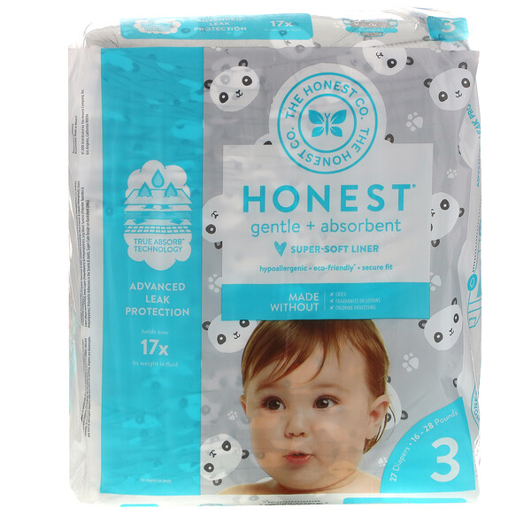 Honest Diapers, Size 3, 16-28 Pounds, Pandas, 27 Diapers