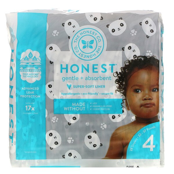 Honest Diapers, Size 4, 22-37 Pounds, Pandas, 23 Diapers