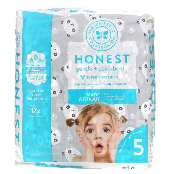 Honest Diapers, Size 5, 27+ Pounds, Pandas, 20 Diapers