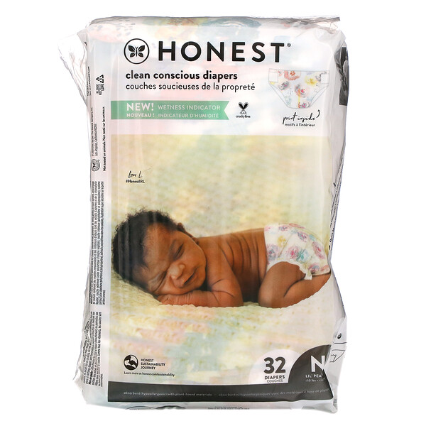 The Honest Company, Honest Diapers, Newborn, Less Than 10 Pounds, Rose Blossom, 32 Diapers