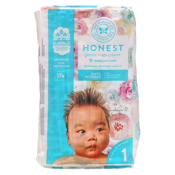 Honest Diapers, Size 1, 8-14 Pounds, Rose Blossom, 35 Diapers