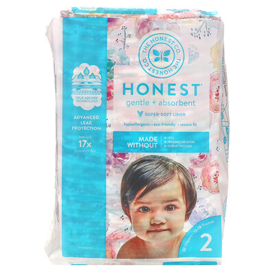 Купить The Honest Company Honest Diapers Size 2, 12-18 Pounds, Rose Blossom, 32 Diapers