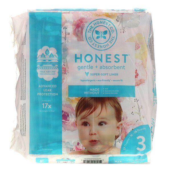 Honest Diapers, Size 3, 16-28 Pounds, Rose Blossom, 27 Diapers