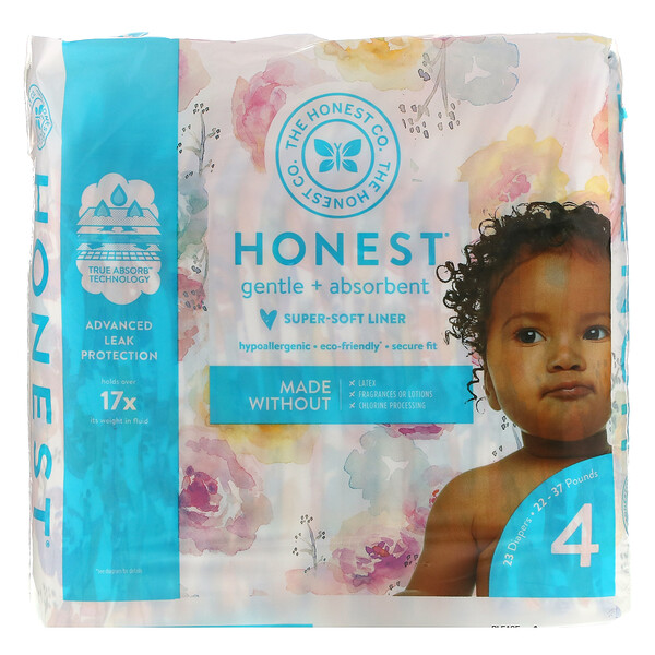 Honest Diapers, Size 4, 22 - 37 Pounds, Rose Blossom, 23 Diapers