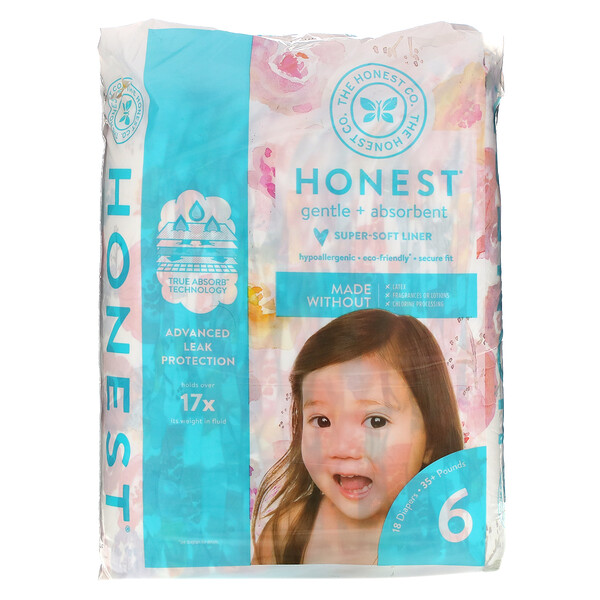 Honest Diapers, Size 6, 35+ Pounds, Rose Blossom, 18 Diapers