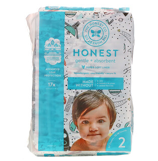 The Honest Company, Honest Diapers, Super-Soft Liner, Size 2, Space Travel, 12-18 Pounds, 32 Diapers