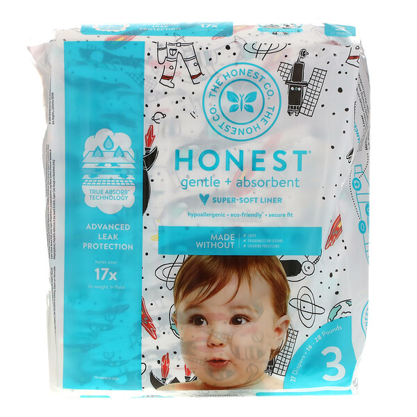 Honest Diapers, Size 3, 16-28 Pounds, Space Travel, 27 Diapers