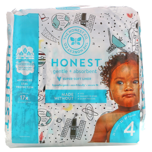 Honest Diapers, Size 4,  22 - 37 Pounds, Space Travel, 23 Diapers