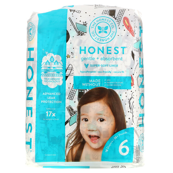 Honest Diapers, Super-Soft Liner, Size 6,  Space Travel, 35+ Pounds, 18 Diapers
