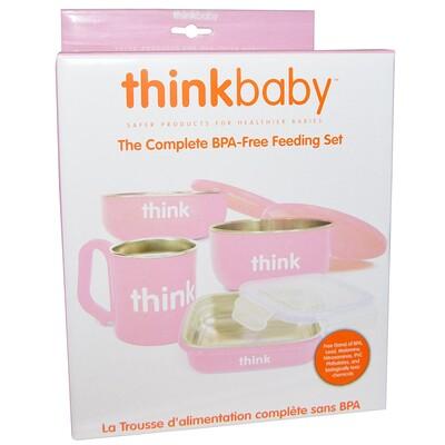 Thinkbaby, Набор детской посуды не содержащий бисфенол А, розовый, 1 набор