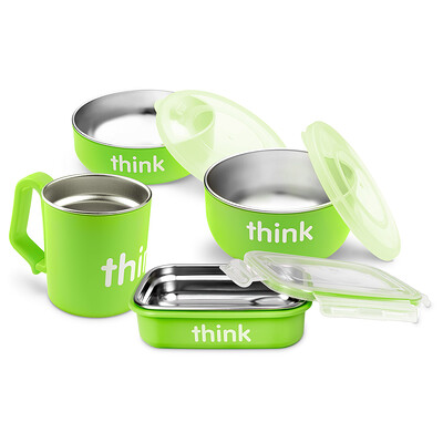 Thinkbaby, Набор детской посуды не содержащий бисфенол А, салатовый, 1 набор