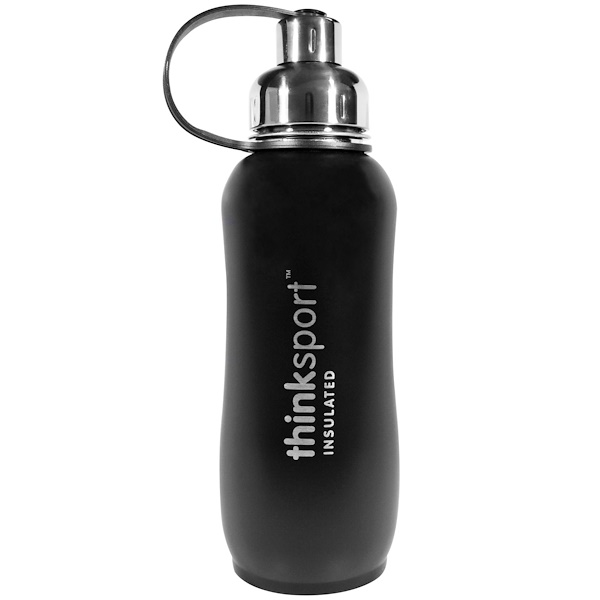 Think, Thinksport, Insulated Sports Bottle, Black, 25 oz (750 ml) (Discontinued Item)