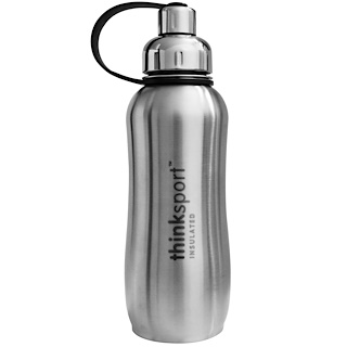 Think, Thinksport, isolierte Sportflasche, silber, 25 oz (750 ml)
