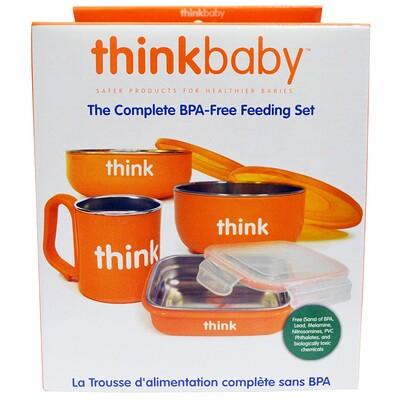 Thinkbaby, Набор детской посуды не содержащий бисфенол А, оранжевый, 1 набор