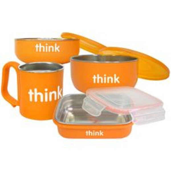 Think, Thinkbaby, The Complete BPA-Free Feeding Set, Orange, 1 Set (Discontinued Item)