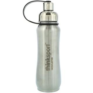 Think, Thinksport, Insulated Sports Bottle, Silver, 17 oz (500ml)