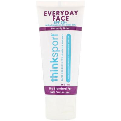 Купить Thinksport, ежедневный крем для лица, фактор защиты от солнца 30+, натуральный отттенок, 2 унции (59 мл)