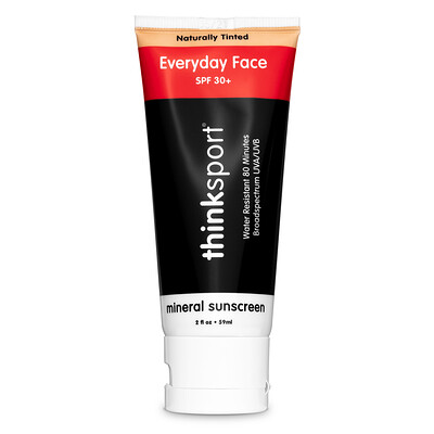 Thinksport, ежедневный крем для лица, фактор защиты от солнца 30+, натуральный отттенок, 2 унции (59 мл)