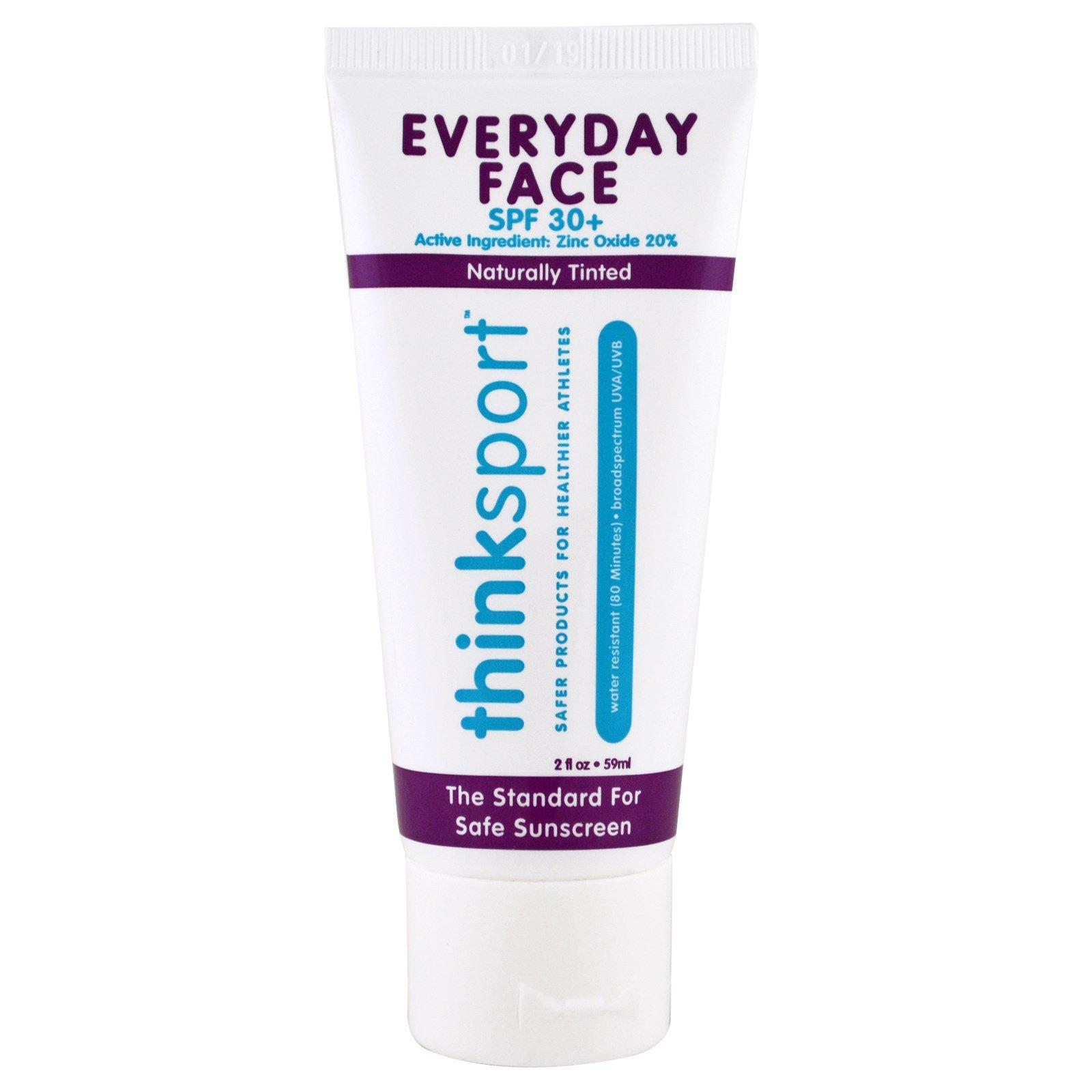 Think, Thinksport, ежедневный крем для лица, фактор защиты от солнца 30+, натуральный отттенок, 2 унции (59 мл)