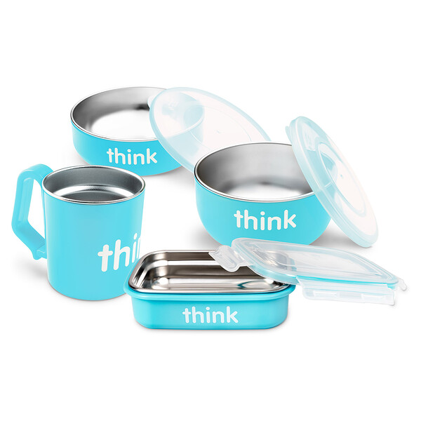 Think, Thinkbaby, The Complete BPA-Free Feeding Set, Light Blue, 1 Set (Discontinued Item)