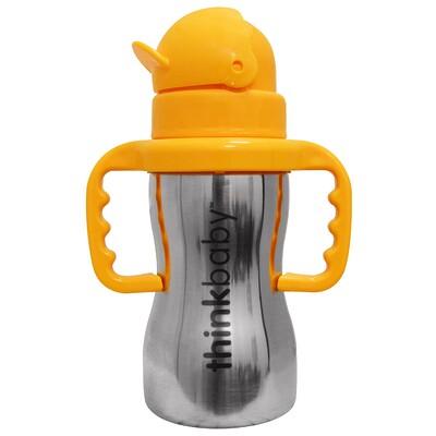 Thinkbaby, Thinkster of Steel Bottle, Orange, 1 Straw 10 oz (290 ml)