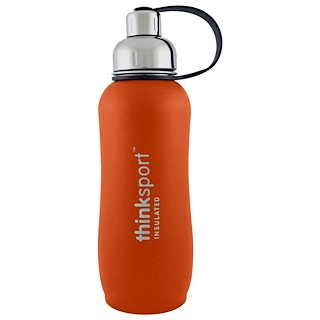 Think, Thinksport, Insulated Sports Bottle, Orange, 25 oz (750ml)